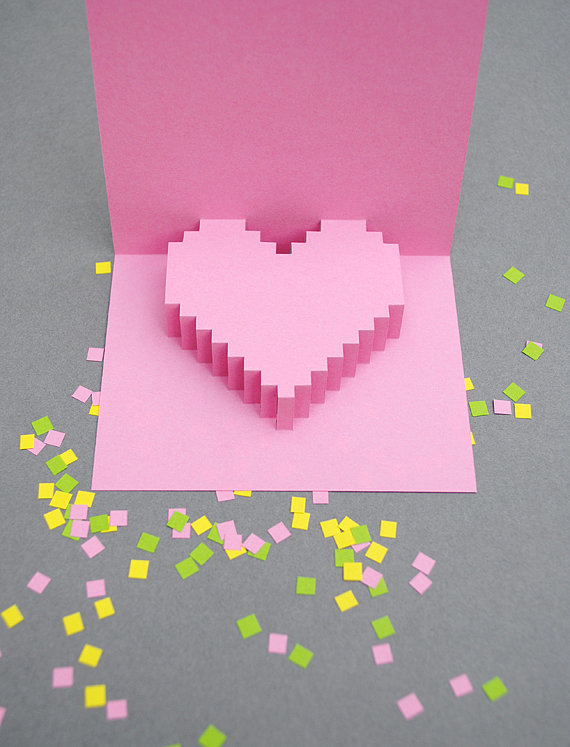 Pixelated Pop-Up Card