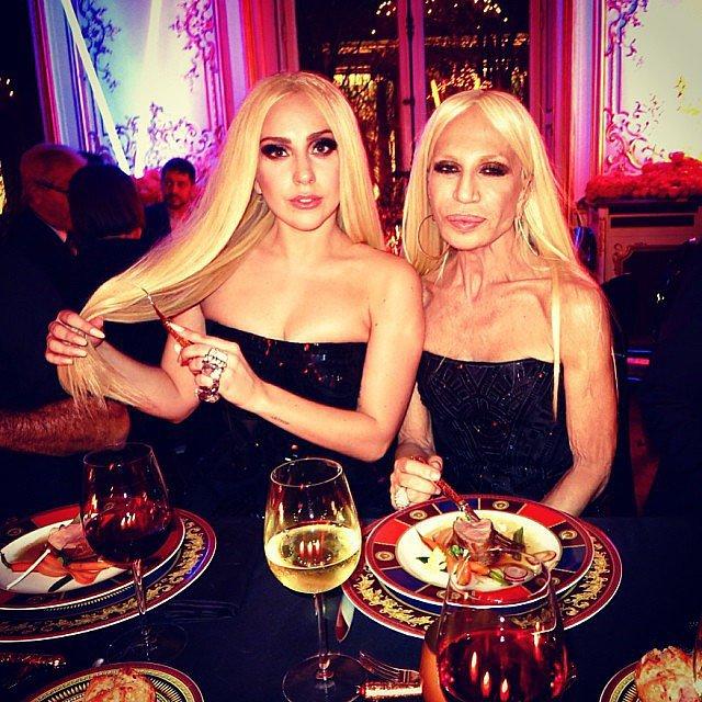 Lady Gaga and Donatella Versace were pretty much identical during a dinner after the designer's couture runway show. Source: Instagram user derekblasberg
