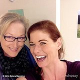 "Upon getting a visit from Meryl Streep, Debra Messing shared this photo with the caption, ""MERYL F*CKING STREEP in my dressing room!! #dead #cantspeak."" Source: Instagram user therealdebramessing"
