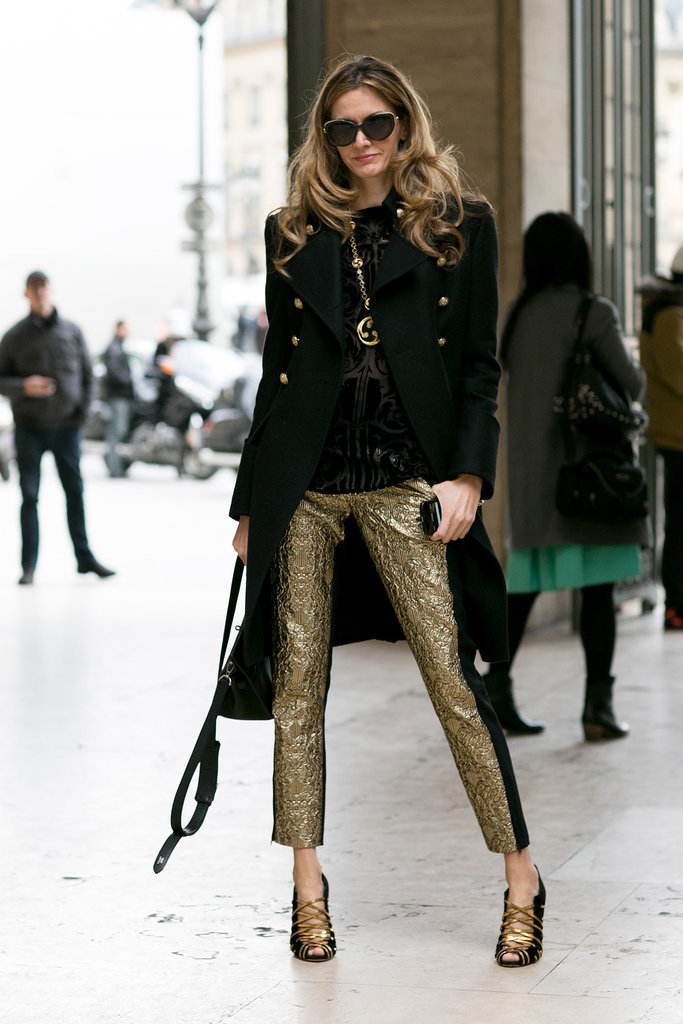 Glamour doesn't always come in the form of dresses; sometimes it's about gold pants.