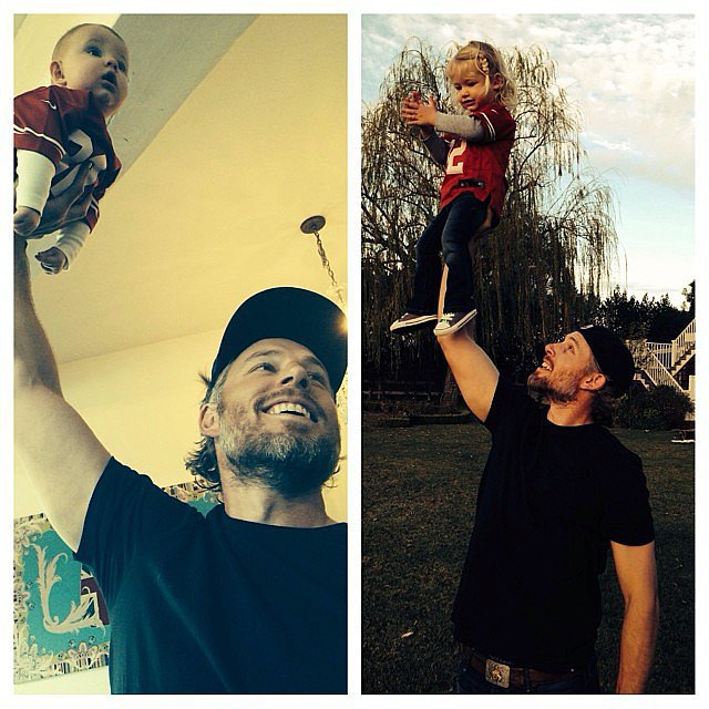 Ace and Maxwell Johnson received one-handed lifts from their dad, Eric, in the backyard. Source: Instagram user jessicasimpson1111