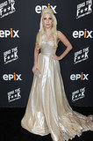 Lady Gaga rocked a gold gown at the Epix bash.