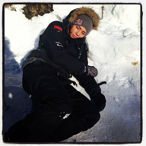 "Her rest time got a bit chillier when she made the switch from the Summer to Winter Olympics, and with a picture lying in the snow, she wrote, ""In track and field when I'm tired I would just go lay on the high jump pit. In bobsled I . . . "" Source: Instagram user lolojones"