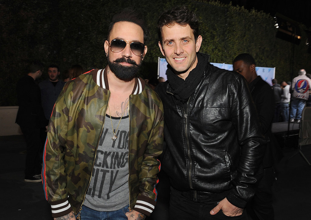 It was a very boy-band moment when Backstreet Boy A.J. McLean attended the Friends 'N' Family pre-Grammys party alongside New Kids on the Block's Joey McIntyre.