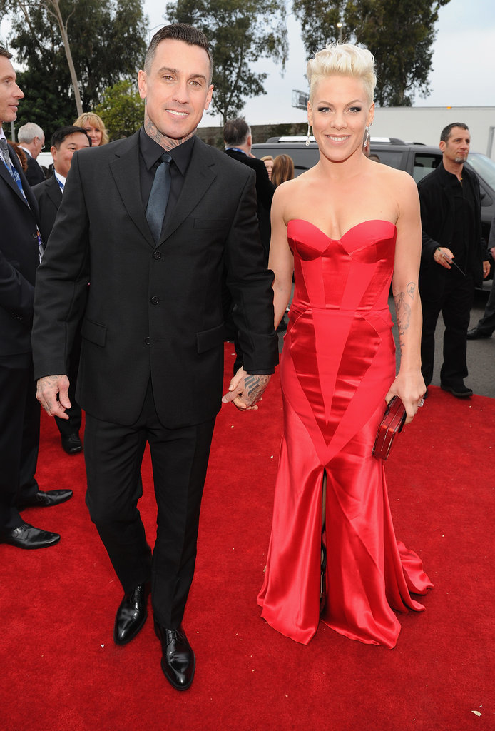 Carey Hart and Pink at the 2014 Grammy Awards.