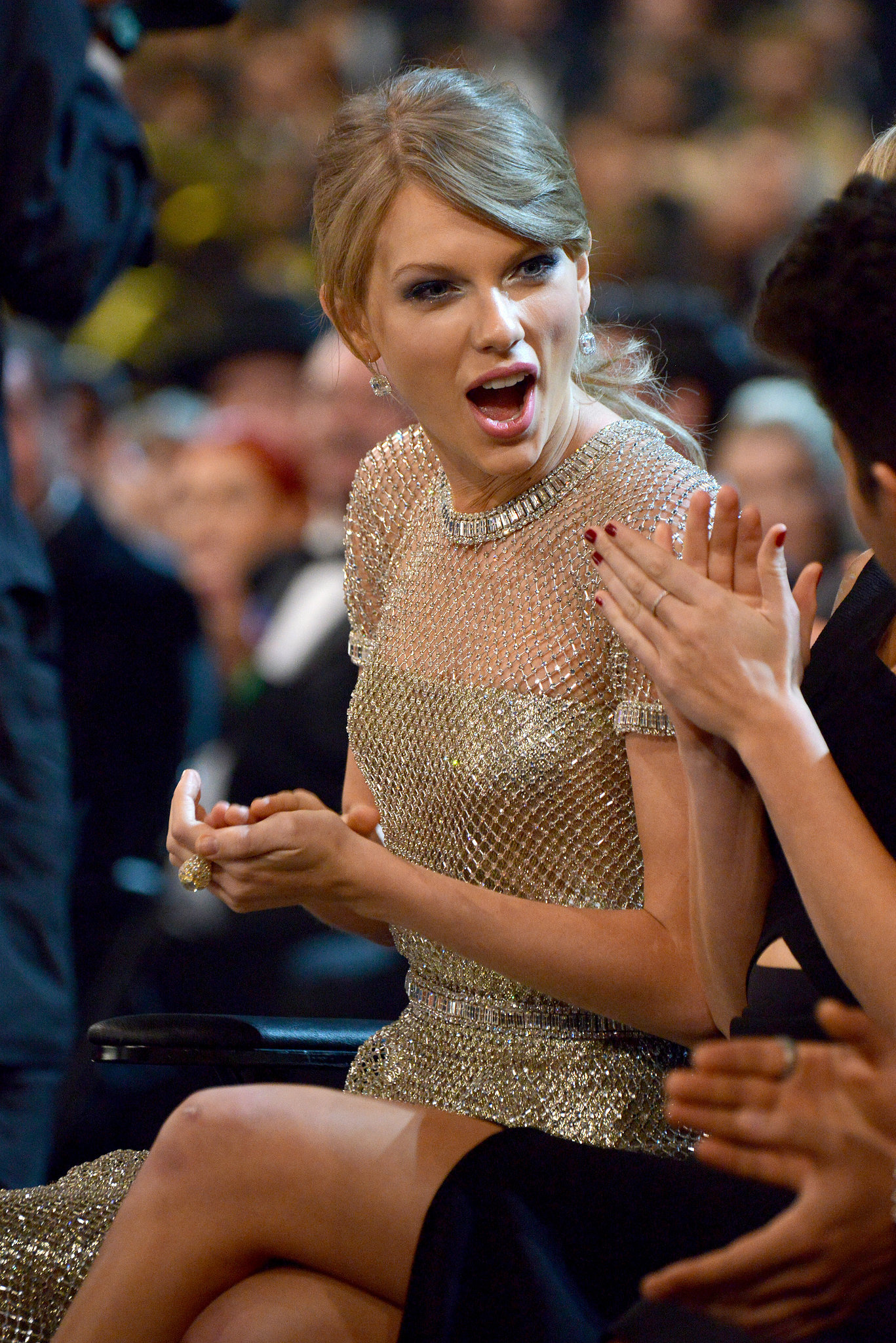 Taylor Swift had a serious surprised face in the audience.
