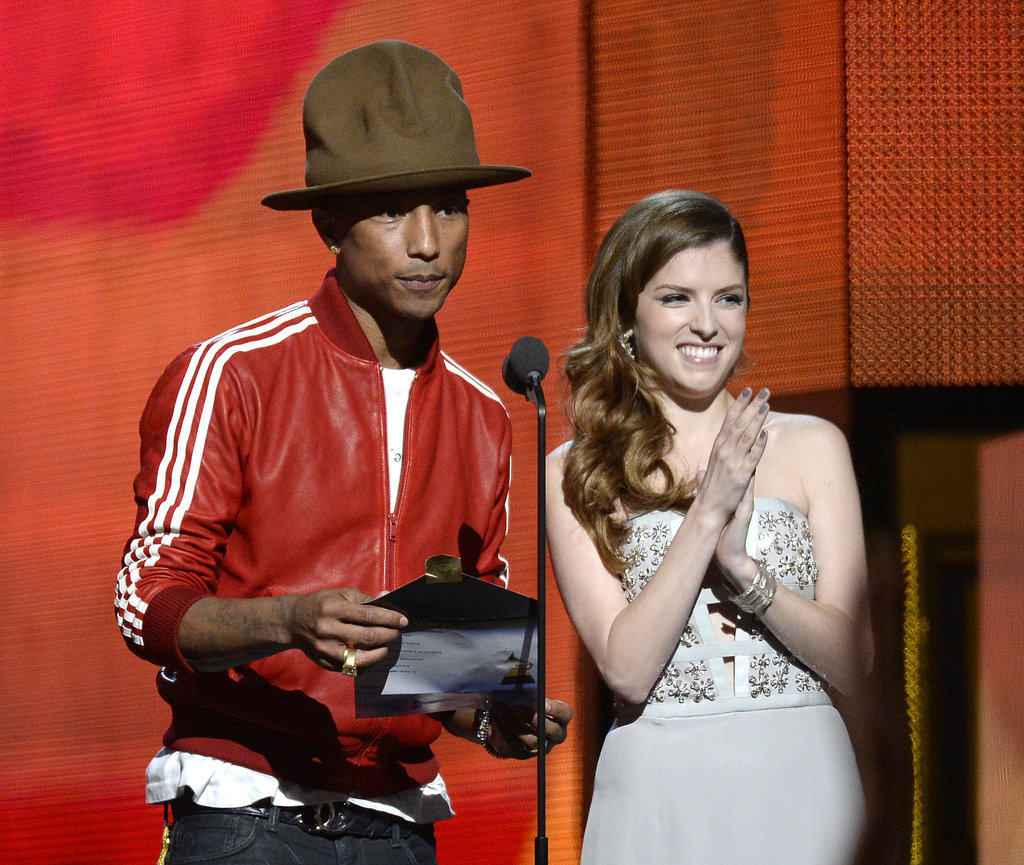Pharrell Williams and Anna Kendrick joked around while presenting the best new artist award.