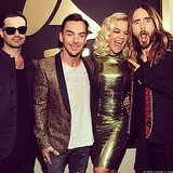 Jared Leto made a hilarious face alongside his bandmates and Rita Ora. Source: Instagram user ritaora