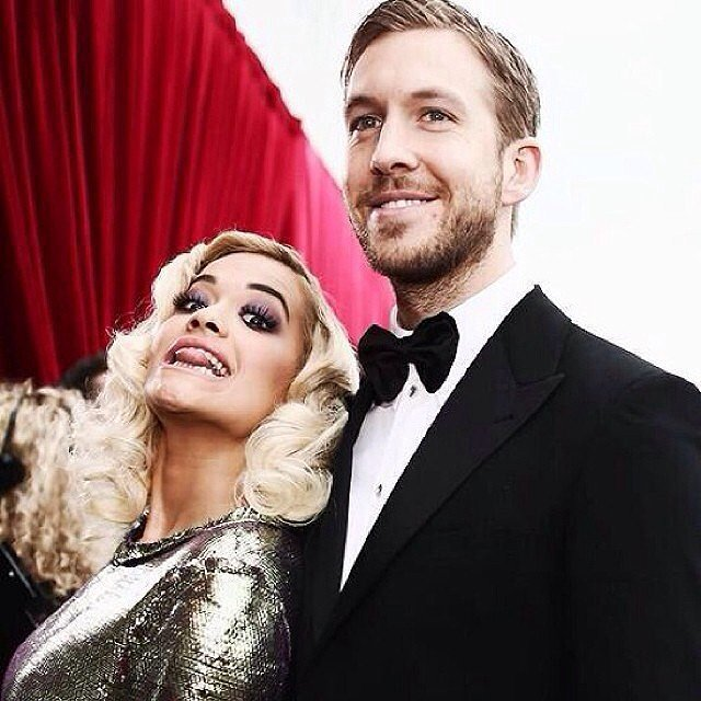 Rita Ora snapped a picture with Calvin Harris on the red carpet. Source: Instagram ritaora