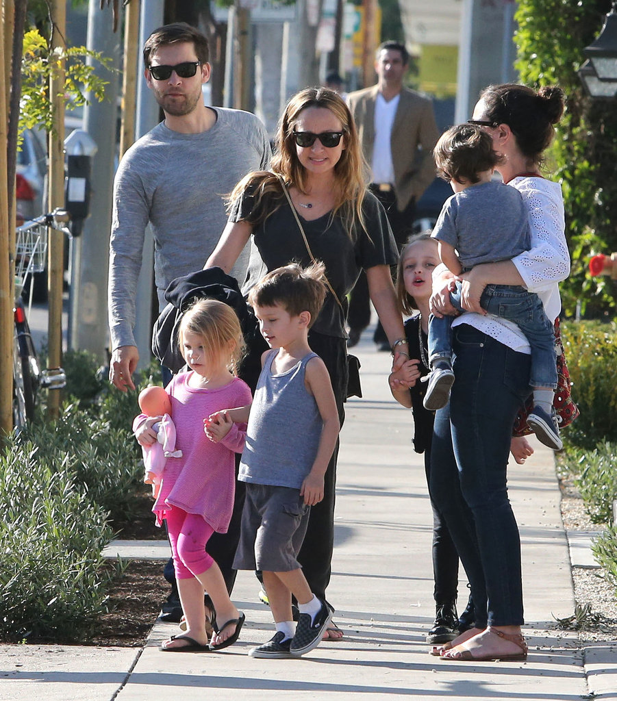 Tobey Maguire and his wife, Jennifer Meyer, caught some fresh air with their children, Ruby and Otis.
