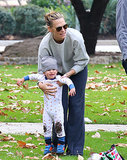 Molly Sims doted on her son, Brooks, who got a little messy at Coldwater Canyon Park in Beverly Hills, CA, on Sunday.