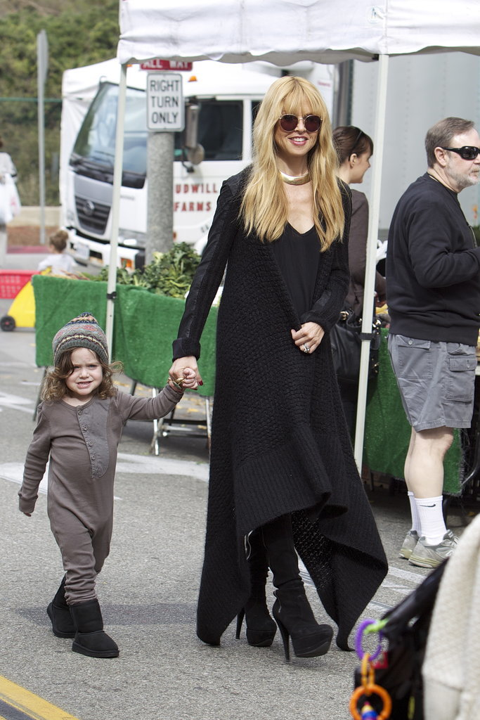 Rachel Zoe held hands with her son Skyler at the farmers market in LA on Sunday.