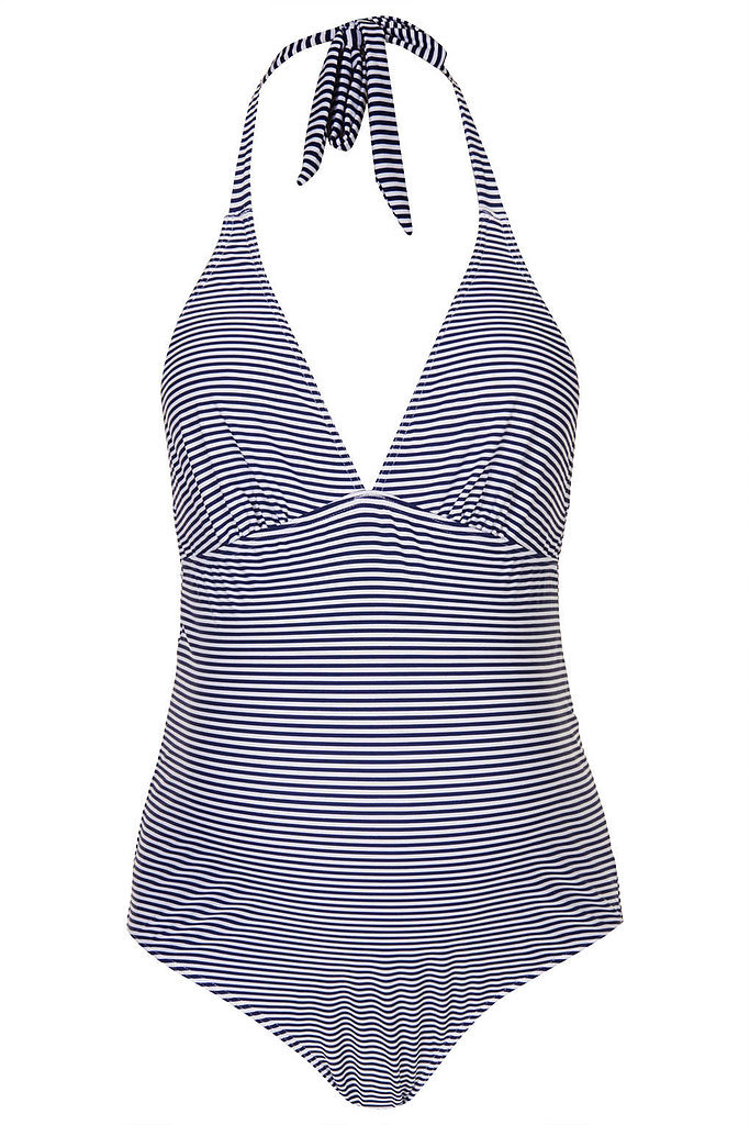 A flattering halter neckline and nautical chic navy and white stripes make Topshop's Maternity Stripe Swimsuit ($56) an appealing choice.