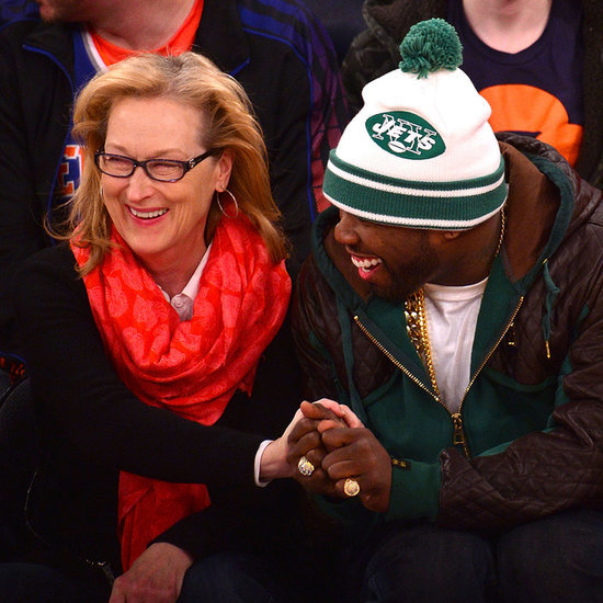 Meryl Streep Hanging Out With 50 Cent at Basketball Game