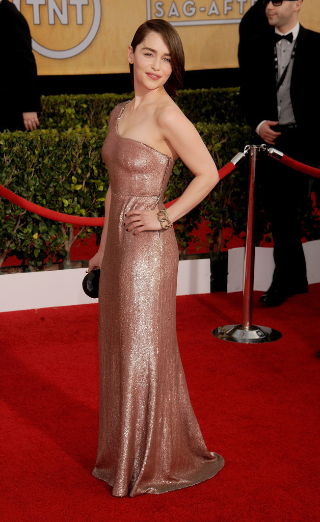 Emilia Clarke at the SAG Awards in Calvin Klein Collection