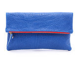 Clare Vivier Blue Fold-Over Clutch