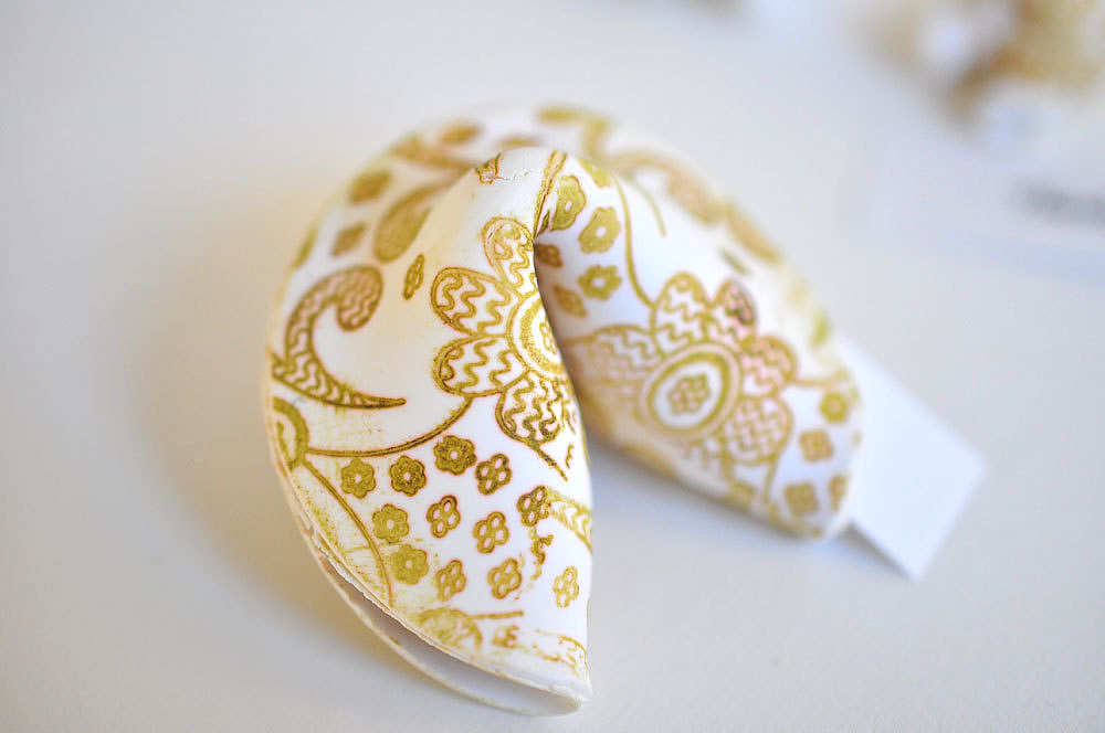Scatter a few gold fortune cookies ($5) around your tablescape for good luck wishes and a festive party favor.