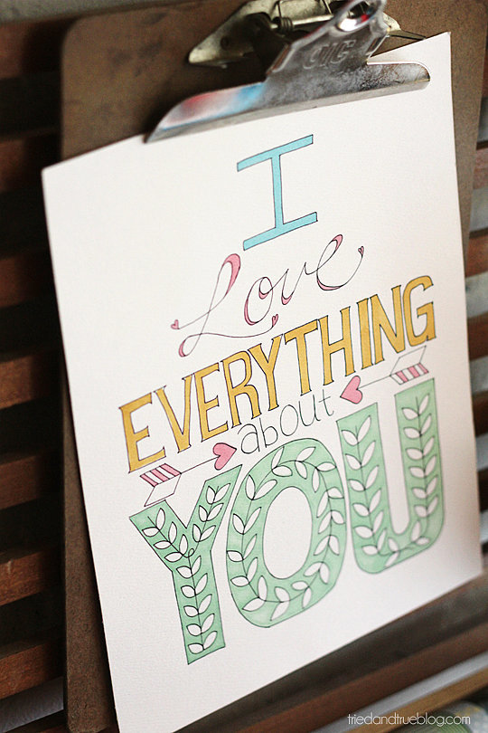 I Love Everything About You Valentine's Printable