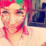 Lauren got covered in paint when she went to India during the Holi festival. Source: Instagram user laurenconrad