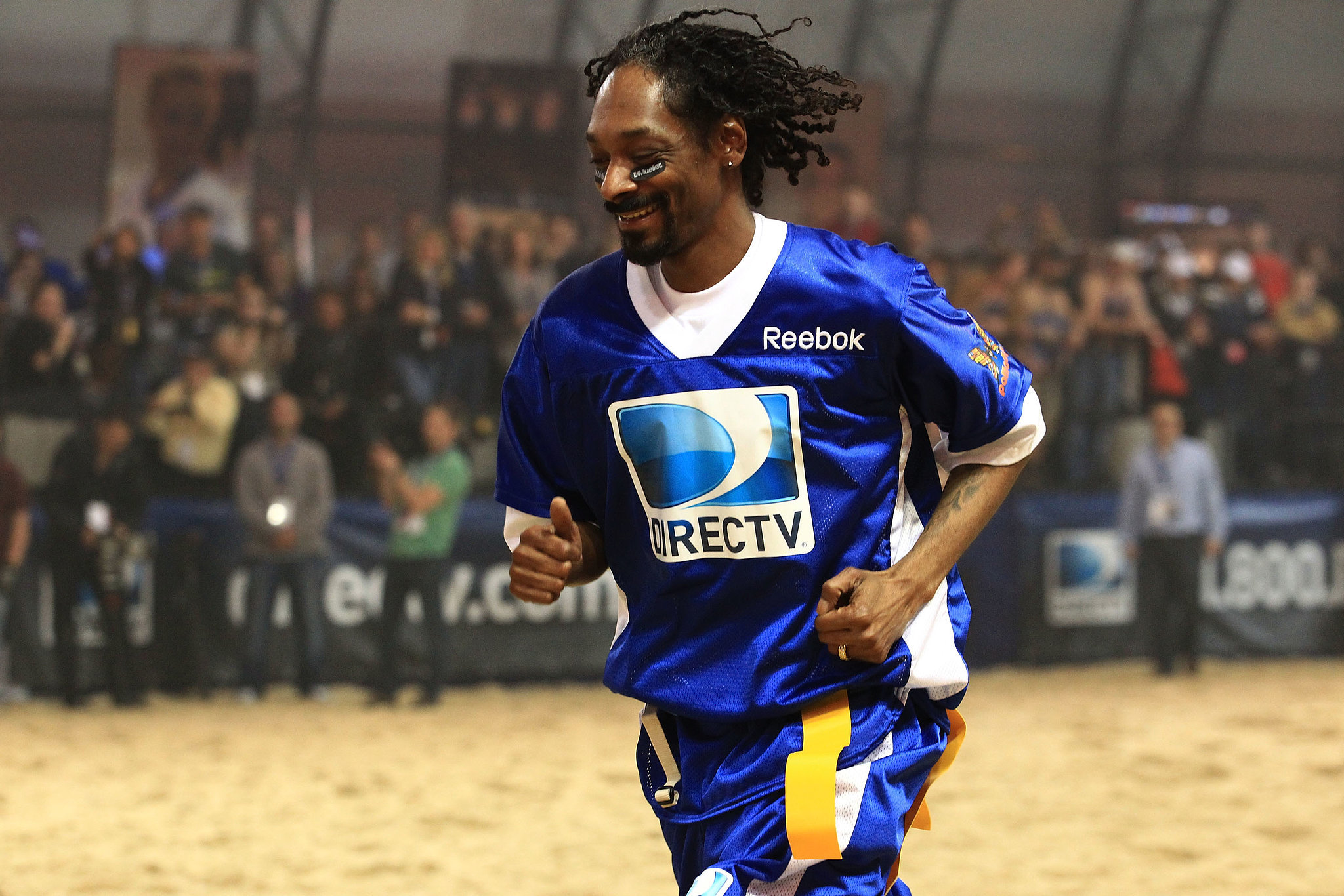 Snoop Dogg jogged it off during the celebrity football game in 2012.