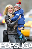 Jane Krakowski carried her son Bennett around NYC on Tuesday.
