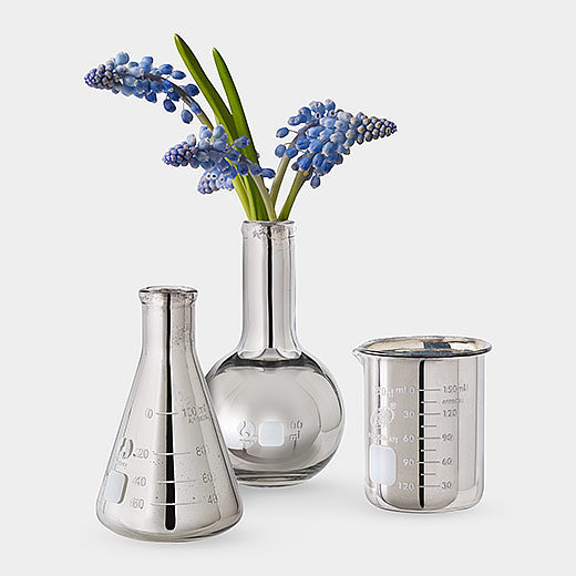 John Norton Silver Flash Labware Bud Vases