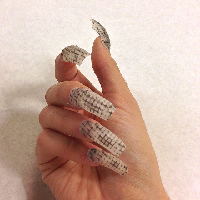 """Griddy"" nails made from two types of plastic.  Source: Instagram user thelasergirls"
