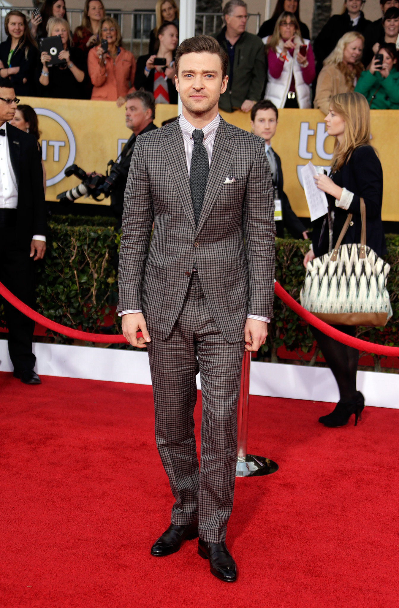 Justin was a sight for sore eyes in a checked Tom Ford suit at the SAG Awards in 2013.
