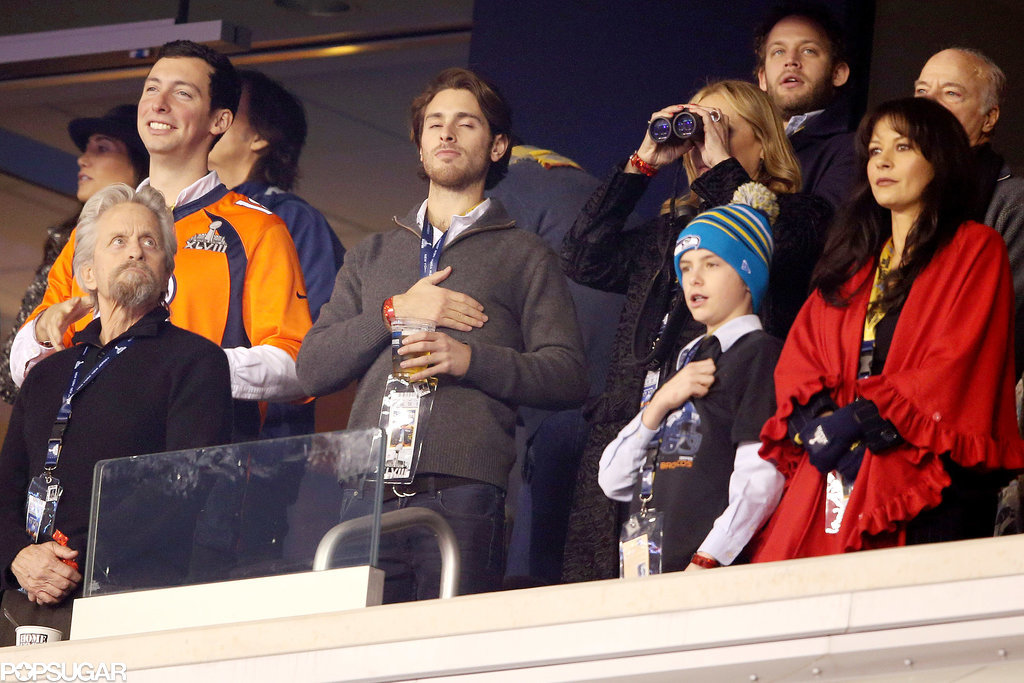 Catherine Zeta-Jones and Michael Douglas brought their family to the Super Bowl.