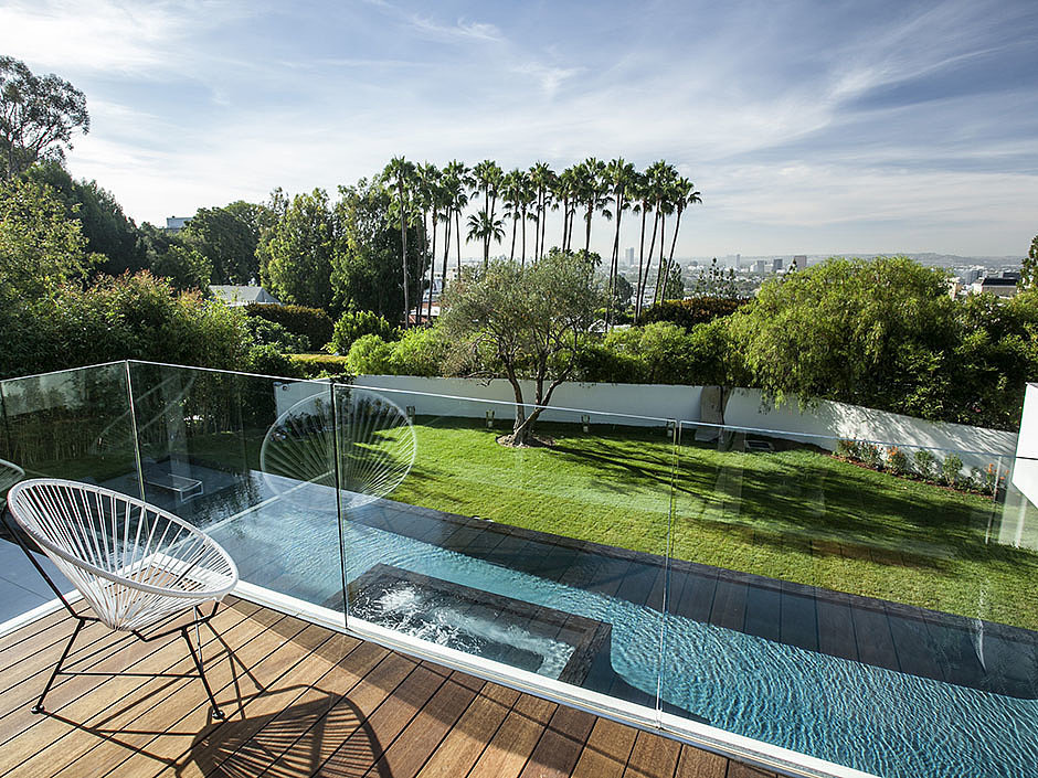 A view of the pool from an upstairs balcony. Source: The Agency