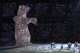 A giant, glittery bear was just chilling.