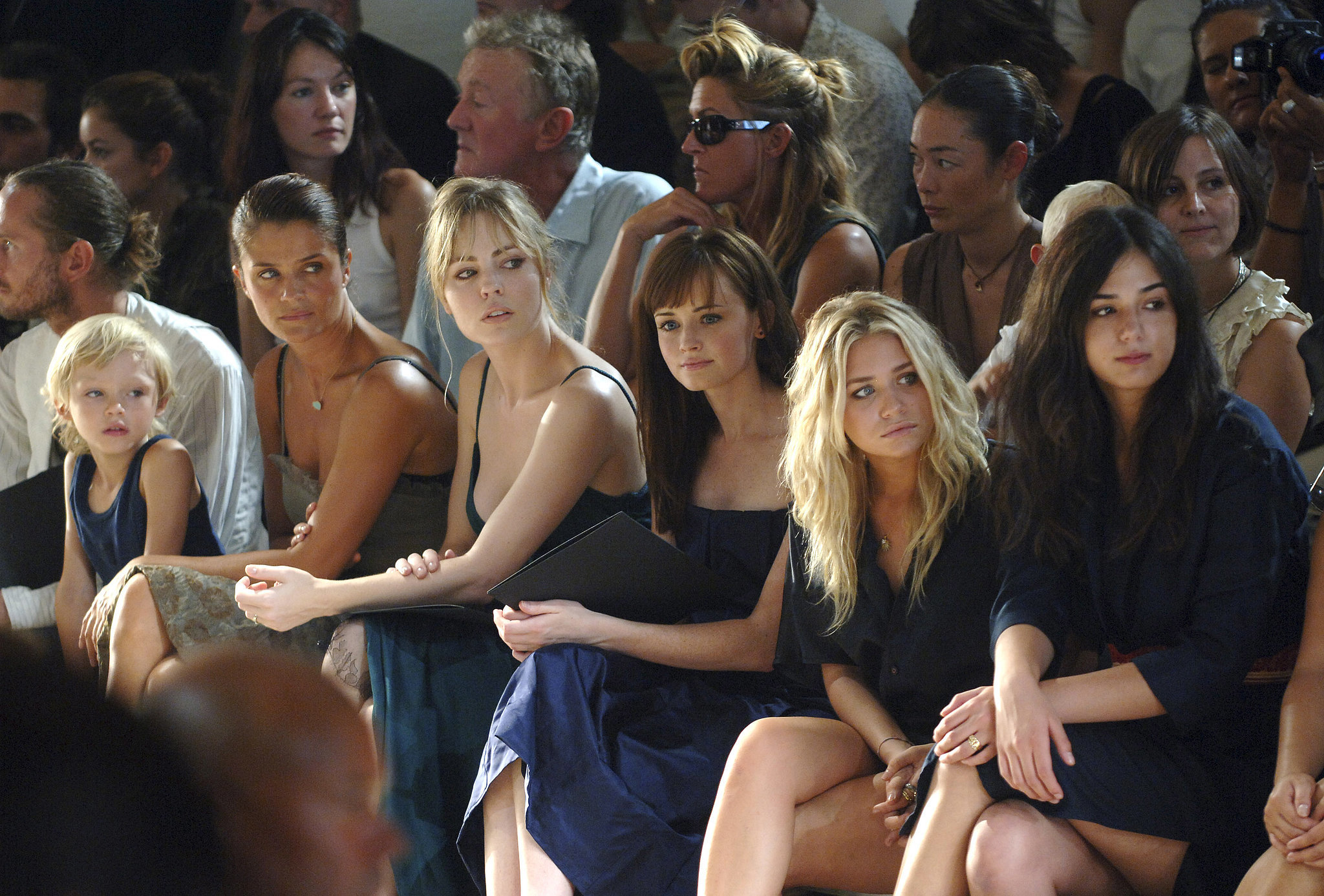 Helena Christensen, Melissa George, Alexis Bledel, and Ashley Olsen checked out Calvin Klein's NYC show in September 2005.