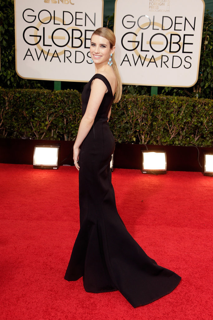For the 2014 Golden Globes, Emma wowed in a sexy Lanvin silhouette adorned with stunning turquoise jewels and a low ponytail.