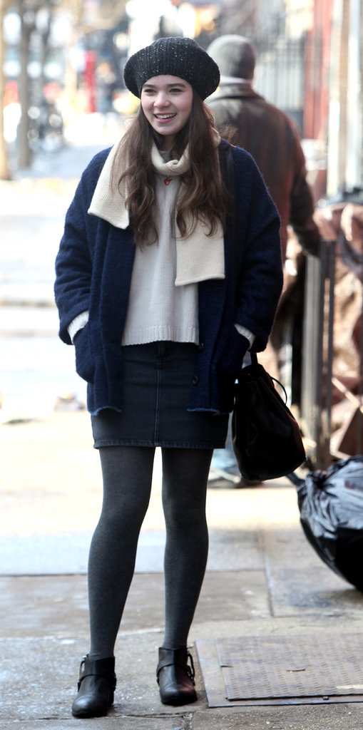 Hailee Steinfeld tried to keep warm on Tuesday when she filmed Ten Thousand Saints.
