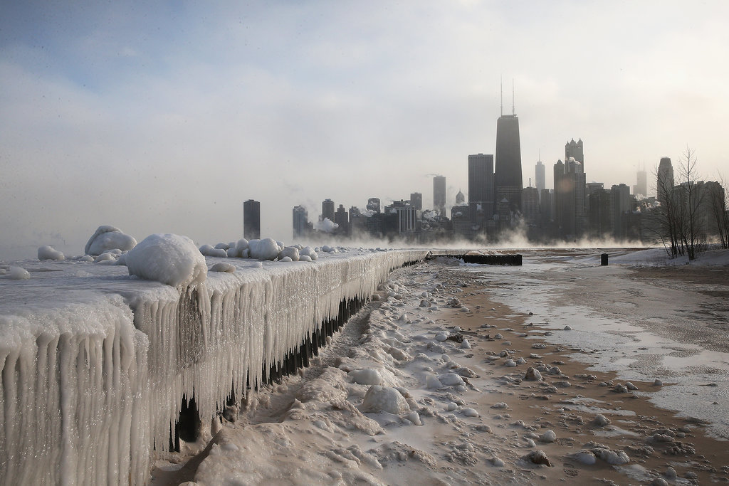 In Chicago, IL, ice built up along the shores of Lake Michigan after several days of subzero temperatures.