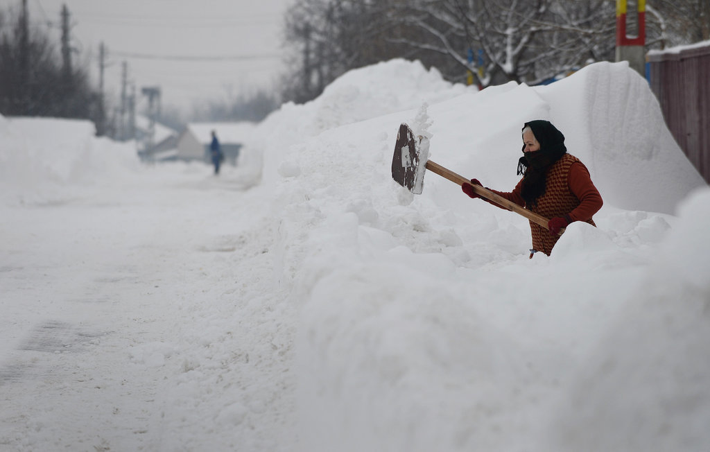 In Bucharest, Romania, locals were left shoveling lots and lots of snow.
