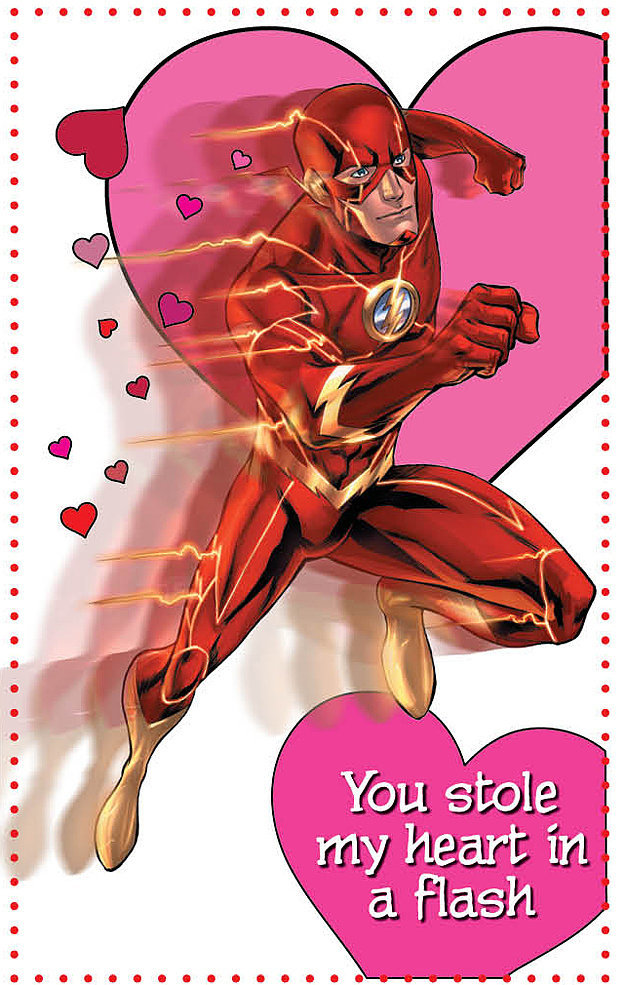 Flash makes an impressive appearance in this valentine that you can get when you buy the Young Romance book ($10) from DC Comics.