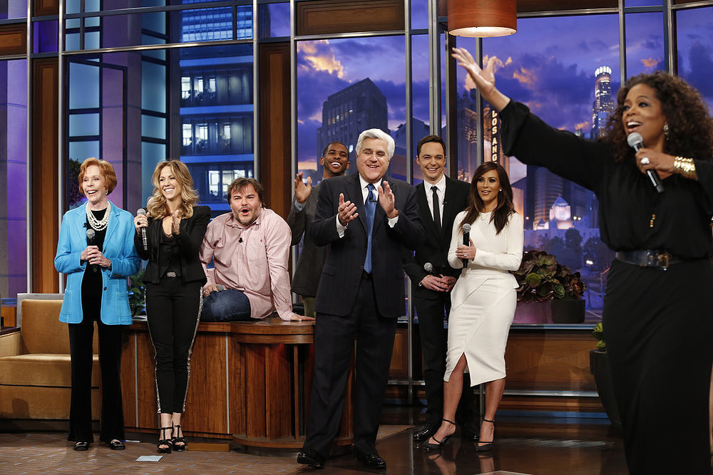 Oprah Winfrey, Kim Kardashian, and other stars sang to Jay Leno as he stepped down from his late-night throne.