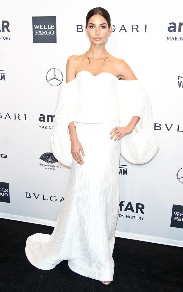 Lily Aldridge, wearing Rosie Assoulin, at amfAR's New York Gala.