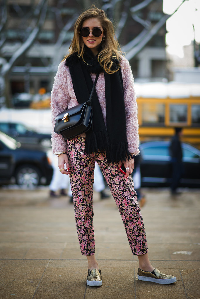 Chiara Ferragni made cozy look cute with a furry pink topper and skater shoes.