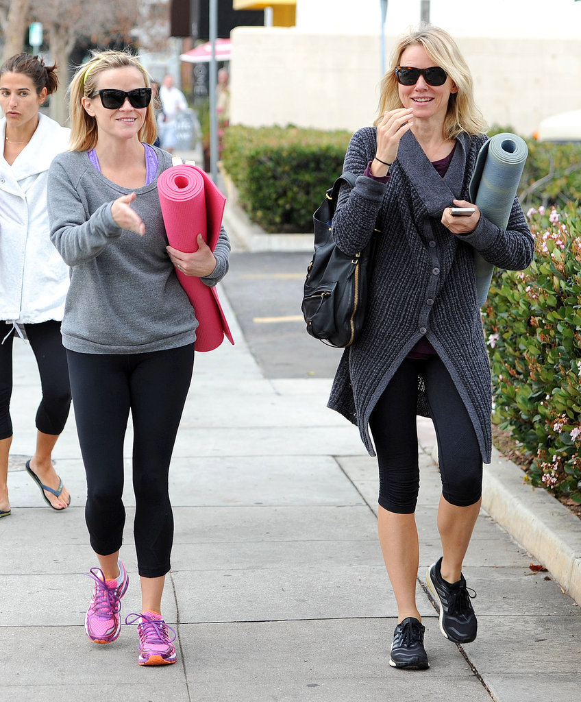 Reese Witherspoon and Naomi Watts headed to yoga class in LA's Brentwood District on Thursday.
