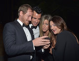 Jennifer and her fiancé, Justin Theroux, shared an adorable moment with Drew Barrymore and Will Kopelman at the LACMA Art + Film Gala in October 2012.