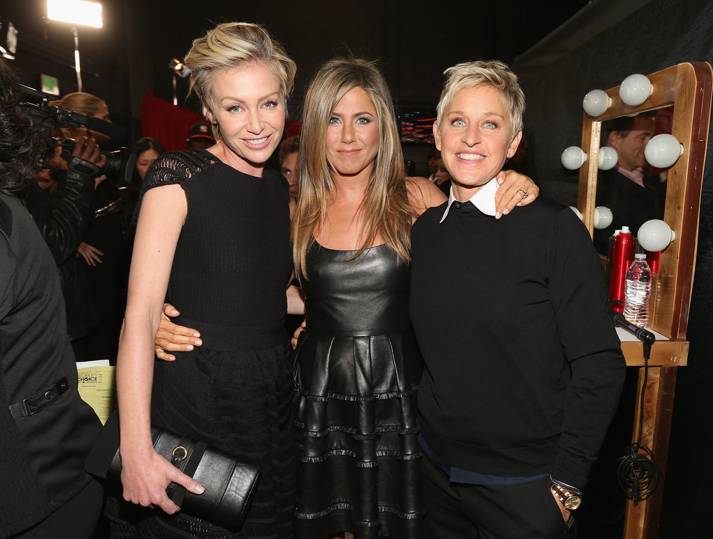 Jennifer was flanked by friends Portia de Rossi and Ellen DeGeneres backstage at the People's Choice Awards in January 2013.