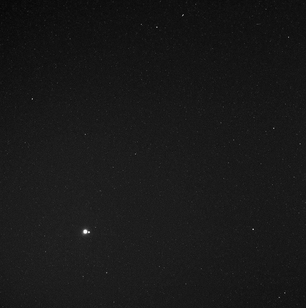 You might have to look hard to see it, but the Messenger captured this view of the Earth and the moon from Mercury on May 6, 2010. The spacecraft was a whopping 114 million miles away from Earth.  Source: Messenger Science Team/NASA
