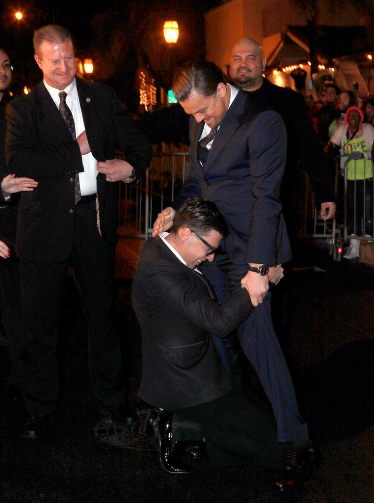 Leonardo DiCaprio couldn't help but laugh when a man ran over and hugged his crotch when he attended the Santa Barbara International Film Festival in California on Thursday.