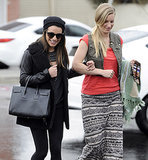 Lea Michele and Heather Morris Reunite in the Rain