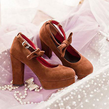 Image of [grxjy5190354]Solid Color Sweet Bowtie Ankle Strap High Block Heel Shoes