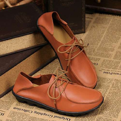 Image of [grzxy61900235]Retro British Style Simple Solid Color Lace-up Flats Shoes