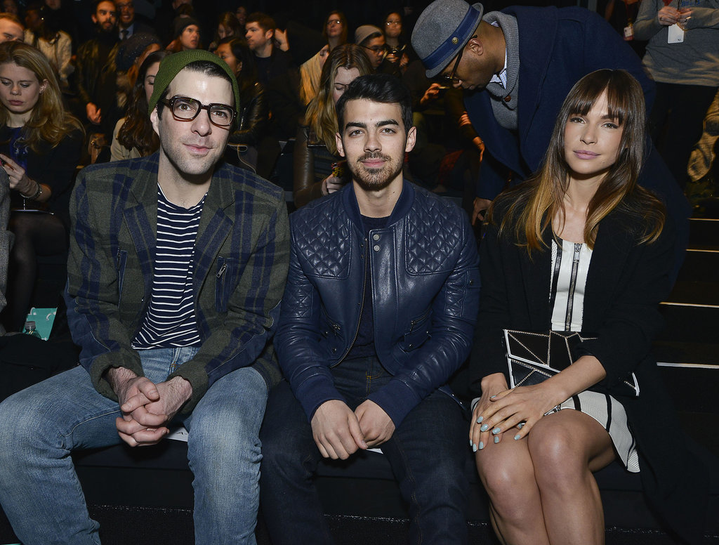 Joe sat between his girlfriend, Blanda, and Zachary Quinto at the Richard Chai show on Thursday.