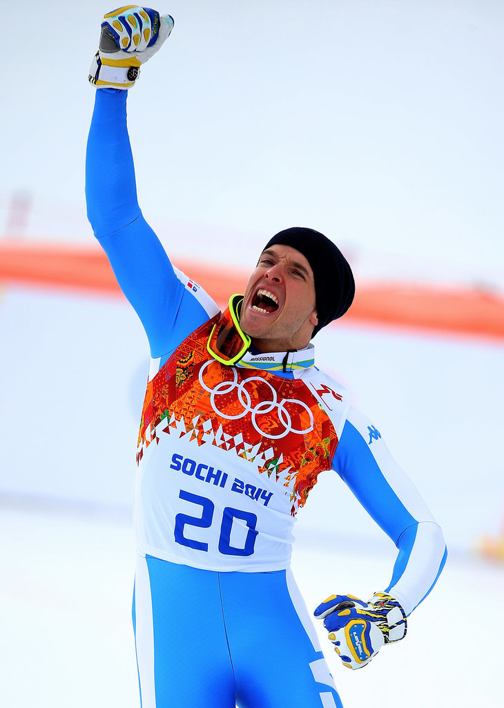 After winning the silver medal for the alpine skiing men's downhill event, Christof Innerhofer of Italy pumped his fist in the air.